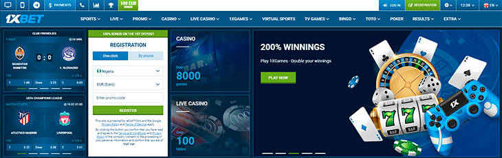 1xBet home page