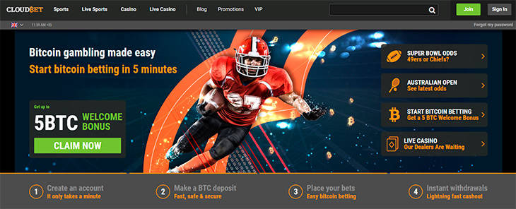 CloudBet home page