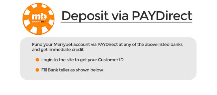 MerryBet deposit via PAYDirect